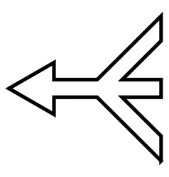 Merge arrow left contour icon vector