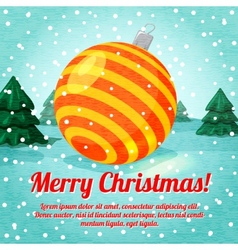 Merry Christmas greeting card with cute ball toy vector image vector image