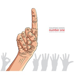 Numbers hand signs set number one detailed vector image vector image