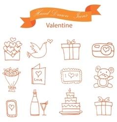 Orange icon of valentine element collection vector
