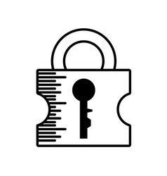 padlock security system outline vector image vector image