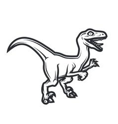Prehistorical dino logo concept raptor insignia vector