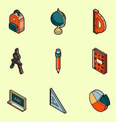 school color outline isometric icons vector image