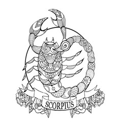 scorpio zodiac sign coloring book vector image