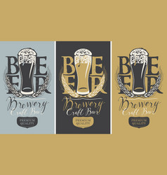 Set of banners with full beer glass and wheat ears vector