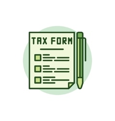 Tax form green icon vector