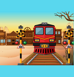 Train on the track to the western town vector