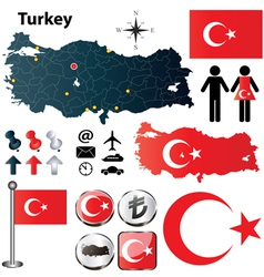 Turkey map vector image vector image