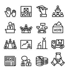 Vote election democracy icon set vector