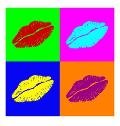 Warhol lips vector image vector image