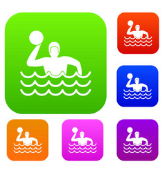 water polo set collection vector image vector image