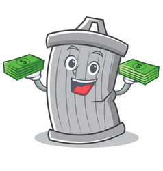 with money trash character cartoon style vector image vector image