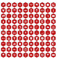 100 golf icons hexagon red vector