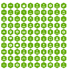 100 headhunter icons hexagon green vector