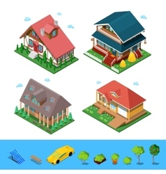 Isometric rural cottage building house set vector