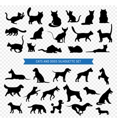 Dogs and cats black silhouette set vector