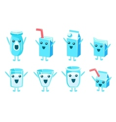 Milk container character set vector