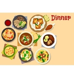 Healthy dinner icon for cafe menu design vector