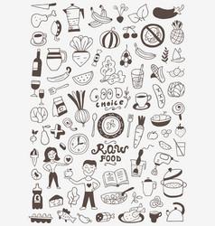 Raw food doodles vector