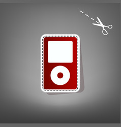 Portable music device  red icon with for vector