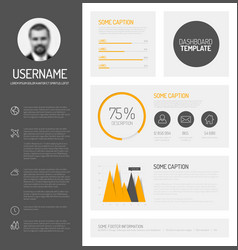 Simple profile dashboard template vector