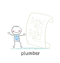 Plumber looking at circuit pipe vector
