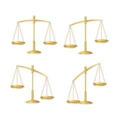 Gold justice scales set isolated on white vector