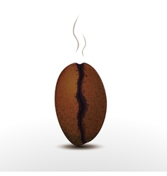 Photorealistic coffee bean with smoke isolated on vector