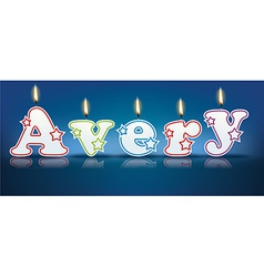 Avery written with burning candles vector