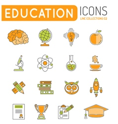 Online education thin lines color web icon set vector