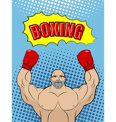 Boxing champion style of pop art with the babble vector