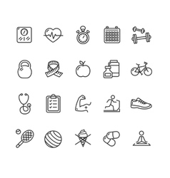 Fytness health outline icon set vector
