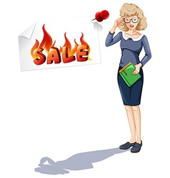 Woman and sale sign posted on wall vector