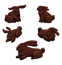 Five chocolate rabbits vector image