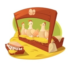 Hen and eggs cartoon concept vector