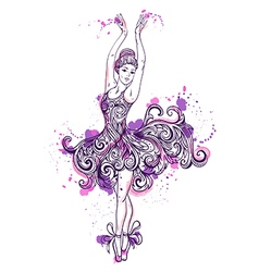 Ballerina with floral ornament dress vector