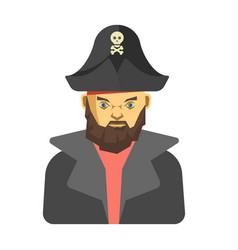 Bearded pirate in dark clothes vector