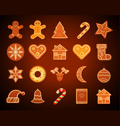 christmas gingerbread cookies set vector image vector image