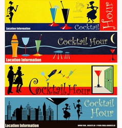 Cocktail hour web banners vector