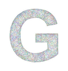 Colorful sketch font design - letter G vector image