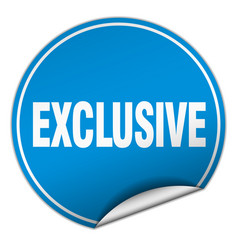 Exclusive round blue sticker isolated on white vector