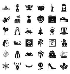 Folklore festival icons set simple style vector
