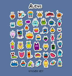 funny aliens sticker set for your design vector image