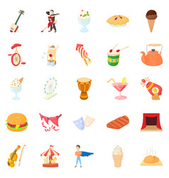 Gladness icons set cartoon style vector