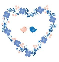 heart wreath with birds vector image