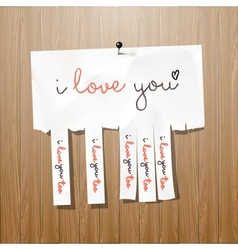 I love you handwritten on advertisement leaflet vector image