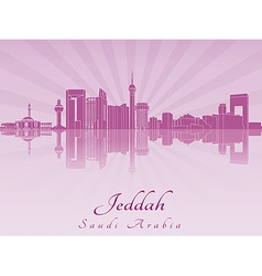 Jeddah skyline in purple radiant orchid vector image