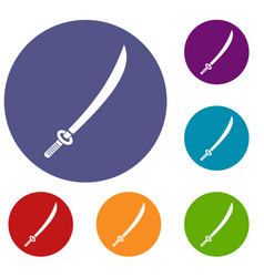 Katana icons set vector
