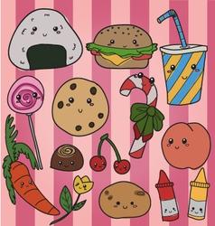 Kawaii food vector