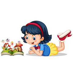 Little girl looking at fairies in the book vector